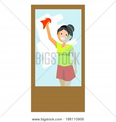 Vector illustration of smiling woman cleaning and wiping window isolated on white.
