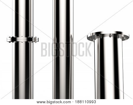 3d rendering shiny metal pipe with flange joint isolated on white
