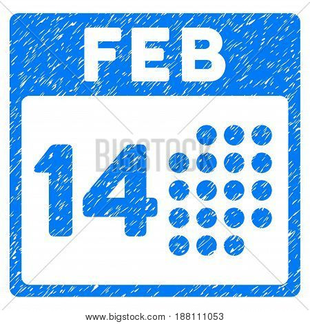 Grunge Romantic Valentine Day icon with grunge design and dust texture. Unclean vector blue pictogram for rubber seal stamp imitations and watermarks. Draft sticker symbol.