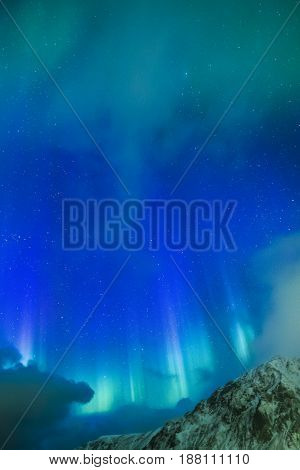 Amazing Picturesque Unique Northern Lights Aurora Borealis Over Lofoten Islands in Nothern Part of Norway. Over the Polar Circle. Vertical Image Composition