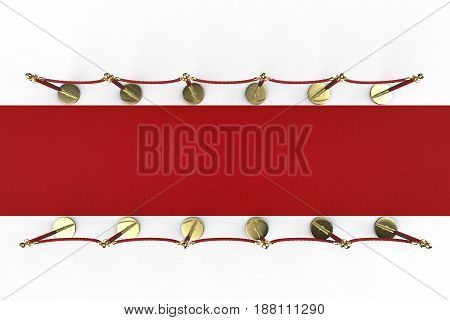 3d rendering red carpet with rope barrier