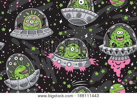Seamless pattern with cartoon green alien monsters in the spaceships. UFO. Vector illustration