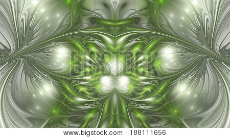 Abstract Glossy Exotic Flowers. Fantasy Symmetric Fractal Design In Grey And Bright Green Colors. Di