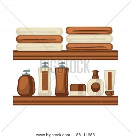 Vector illustration of different brown and beige colored bottles and towels for bathing.