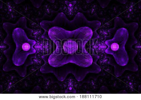 Abstract Symmetrical Futuristic Ornament In Purple Colors. Fantasy Fractal Background. Digital Art.