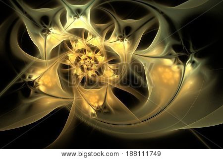 Abstract Exotic Golden Flowers On Black Background. Fantasy Fractal Design. Psychedelic Digital Art.