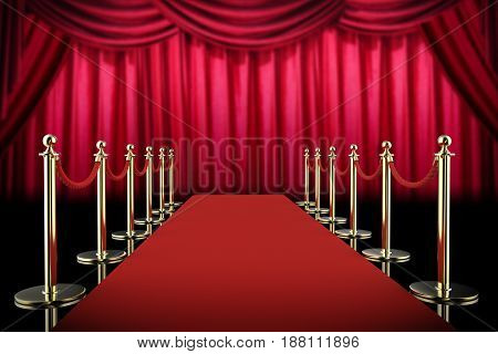Red Carpet And Rope Barrier With Red Curtain Background