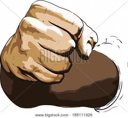 Strong blow with a fist clenched hand directed towards the viewer