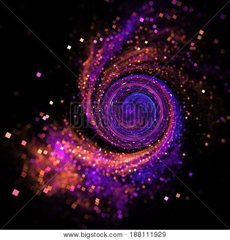Sparkling Swirl. Abstract Blue, Purple And Orange Square Bokeh On Black Background. Fantasy Fractal