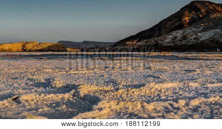 Panorama of Crater salt lake Assal in Djibouti