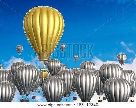 Leadership Concept With Golden Hot Air Balloon