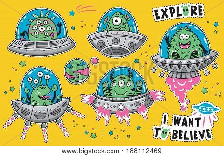 Vector childish patches with cartoon alien monsters in the spaceships. UFO. Vector illustration