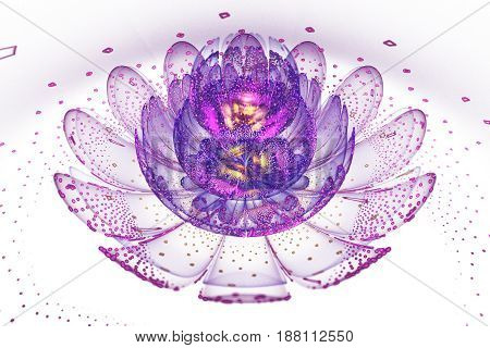 Abstract Exotic Flower With Glowing Sparkles On White Background. Fantasy Fractal Design In Blue, Pu