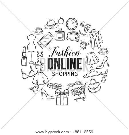 Vector hand drawn set of online fashion shopping icons, symbols and badges. Poster round composition for e-commerce.