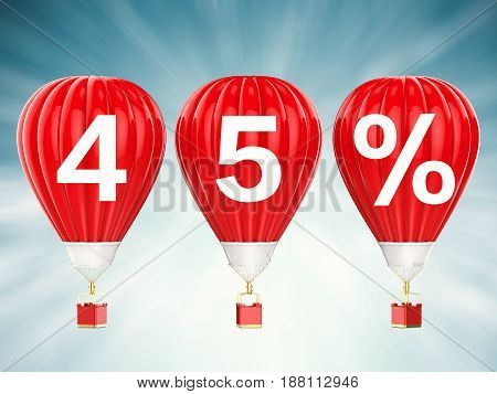 45% Sale Sign On Red Hot Air Balloons