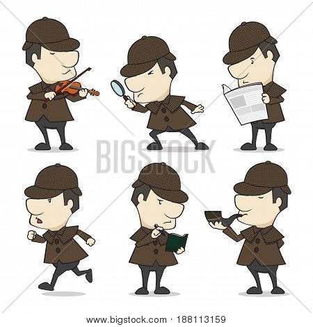 Detective character in 6 different action, the vector is 100% editable.