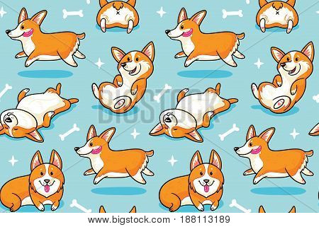 Cute seamless pattern with corgi cartoon characters. Vector illustration