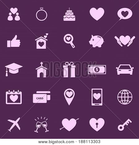 Family color icons on purple background, stock vector
