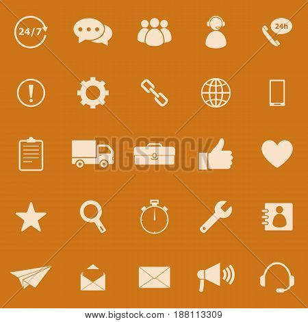 Customer service color icons on orange background, stock vector