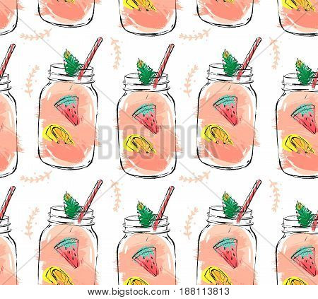 Hand drawn vector abstract summer time organic fresh fruits seamless pattern with cocktail in glass bottle jar, watermelon, lemon slice and mint leaves in rose pink colors isolated on white background.