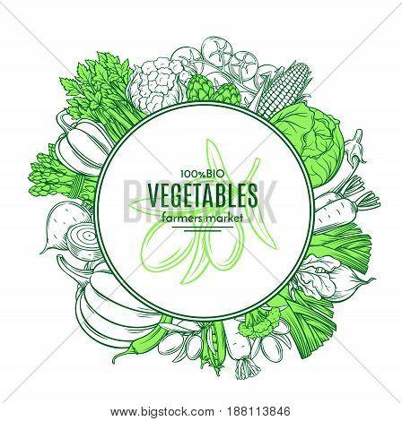 Poster template frame with hand drawn vegetables for farmers market menu design. Healthy food concept. Vector vintage illustration.