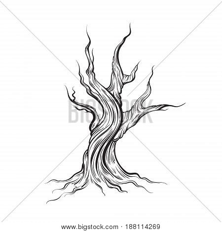 Vector illustration of dead tree made in hand drawn style. Line hand sketched artwork. Template for card poster banner print for t-shirt.