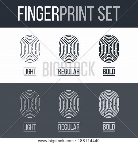 Set of Fingerprints for Identity Person on Dark and White Background