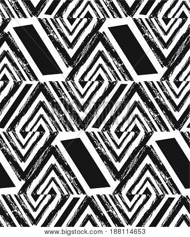 Hand drawn vector abstract freehand textured seamless pattern collage with zebra motif, organic textures, triangles isolated on black background.Wedding, save the date, birthday, fashion decoration