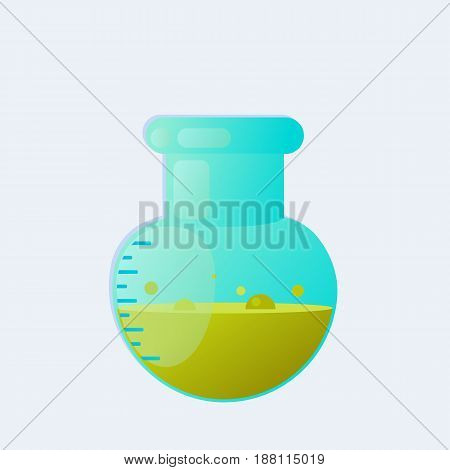 Chemical laboratory test-tube with liquid. Vector illustration