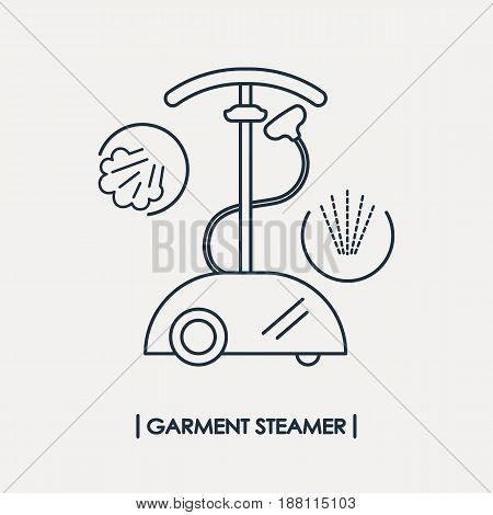 Line style garment steamer icon. Outline steam generator icon. Steam station isolated.