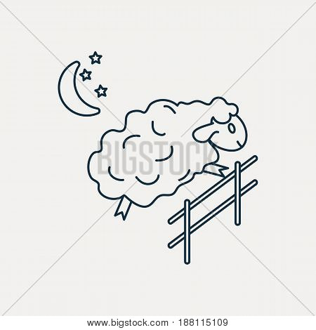 Sheep jumping over the fence. Vector illustration