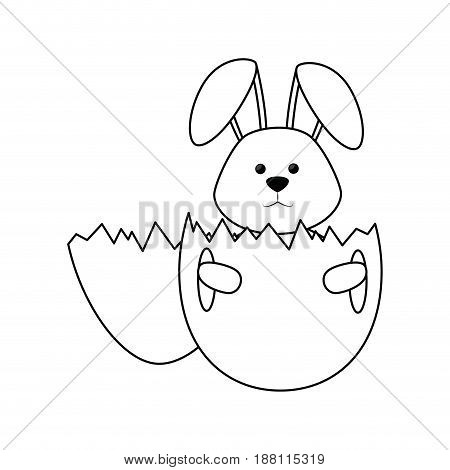 eggshell with cute bunny icon over white background. vector illustration