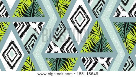 Hand drawn vector abstract freehand textured seamless tropical pattern collage with zebra motif, organic textures, triangles isolated on black background.Wedding, save the date, birthday, fashion decor.