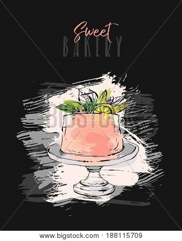 Hand drawn vector abstract freehand textured unusual save the date card template with cake stand design, flowers, lemon and modern calligraphy in peach colors.Wedding, birthday, rsvp.Freehand textures
