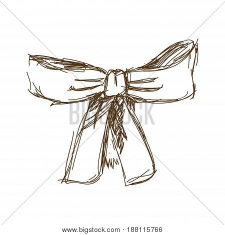 bow ribbon gift in a vintage woodcut engraved style vector illustration