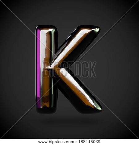 Glossy Black Letter K Uppercase With Colored Reflections