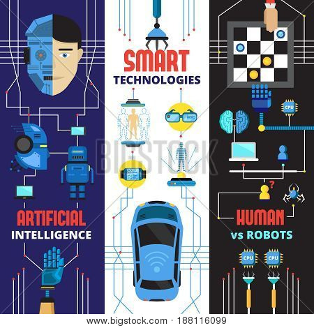 Artificial intelligence vertical banners collection with flat doodle images of cyborg robots and futuristic technologies elements vector illustration