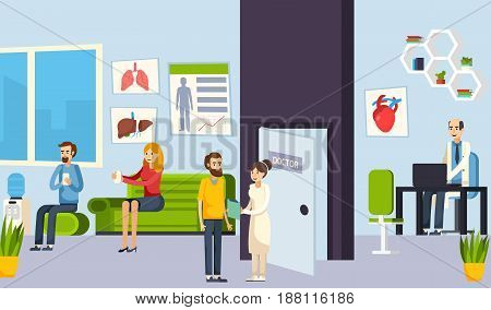 Colored flat waiting room in the clinic composition with patients and doctors vector illustration