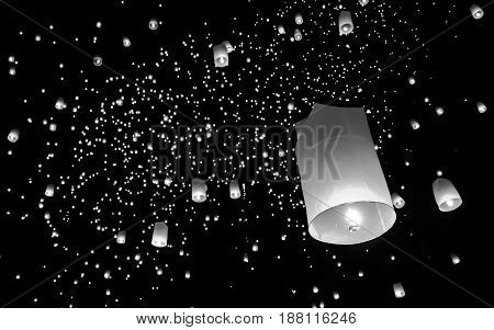 Floating lantern Yi PengFirework Festival in Chiangmai Thailand