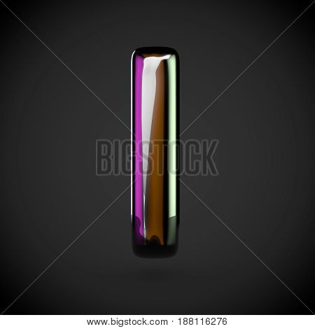 Glossy Black Letter L Lowercase With Colored Reflections
