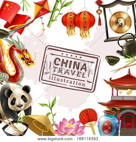 Colored china travel frame background with famous attractions and elements of traditional Chinese culture vector illustration