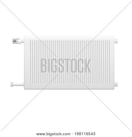 Hot water heating system radiator with temperature control knob isolated element on white background realistic image vector illustration