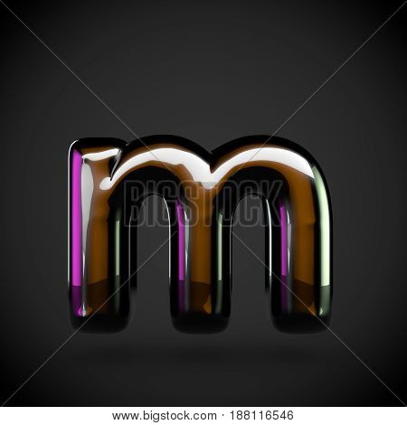 Glossy Black Letter M Lowercase With Colored Reflections