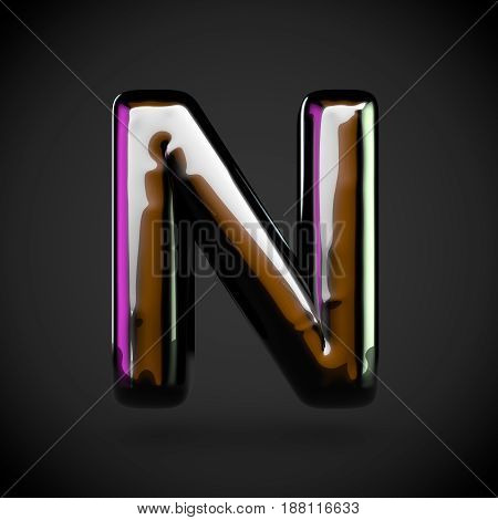 Glossy Black Letter N Uppercase With Colored Reflections