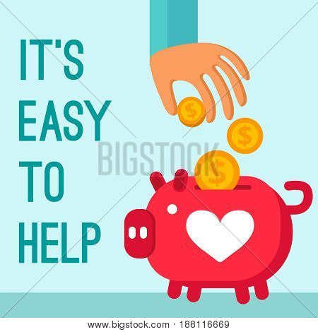 Charity donation poster in cartoon style with man hand lowering coins in piggy bank flat vector illustration