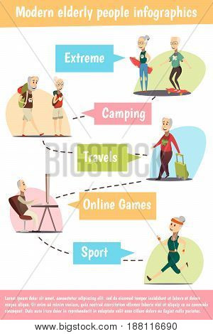 Modern elderly people infographic set with sport and games symbols cartoon vector illustration