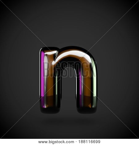Glossy Black Letter N Lowercase With Colored Reflections