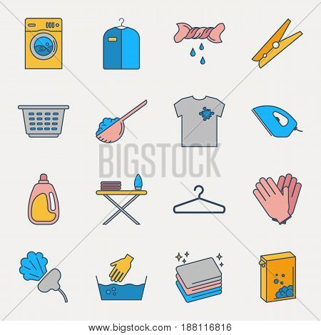 Collection of colorful laundry icons. Set of housework outline icons