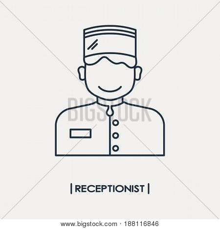 Vector illustration of receptionist outline icon isolated