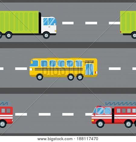 Fire truck car cartoon delivery transport cargo bus logistic seamless pattern vector illustration. Mobile fast emergency service fast moving emergency commercial automobile.
